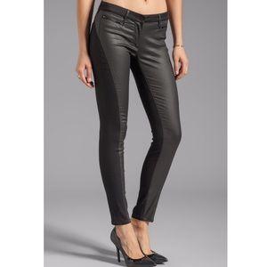 3X1 Black W1 Zip Wrap Coated Skinny Jeans